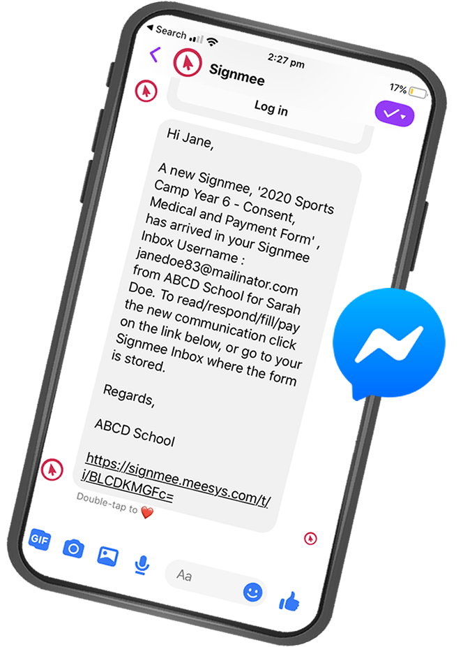 Image of a messenger alert from Signmee, opened in Messenger App on the phone